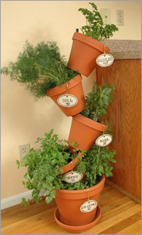 Simply Stick a metal rod through the hole in the bottom of pots, and you have your own flip flop flower pot display